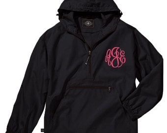 Monogram Rain Jacket Preppy Windbreaker Pack N Go Monogram Pullover Hooded Rain Coat Monogram Raincoat Monogram Quarter Zip Black