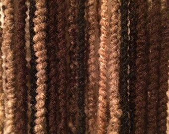 Natural 36 SE Crochet Dreads with Skull and Wooden Beeds