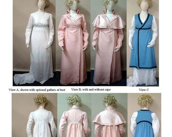 Regency Wrapping Front Gown with Optional Train, Redingote & Tunic c. 1798-1813 sizes 6-34 Laughing Moon Sewing Pattern # 130