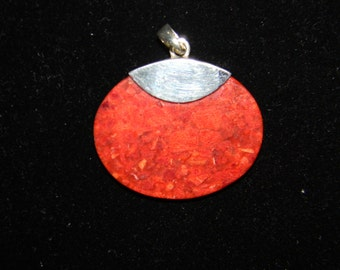 Sterling Silver 925 Rust Colored Stone Pendant