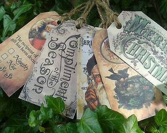 Set of 10 assorted victorian christmas gift tags