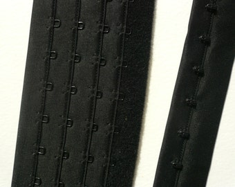 Continuous Hook and Eye Tape. Quadruple Rows .Black. Lingerie Making. Priced for 1/2 metre