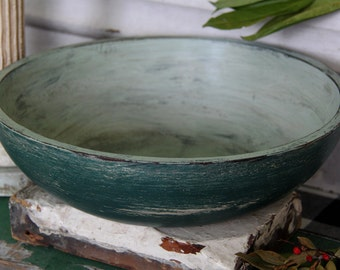 Large Round Wood Bowl ~ Primitive ~ Rustic ~ Shabby ~ Distressed ~ Farmhouse ~ Country ~ Robin's Egg Blue ~ Dark Blue Green