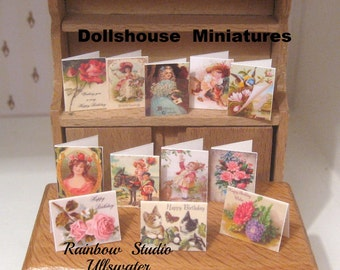 birthday cards x 12 victorian dollhouse miniatures