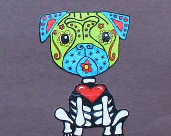 Day of the Dead Pug vinyl sticker #122