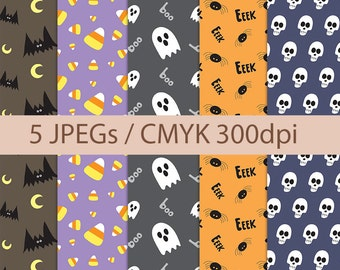Hand Drawn Halloween Patterns/Paper // Digital Download High Quality