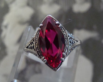 Sweet Sterling Silver Marquis Ruby ring Size 8.5