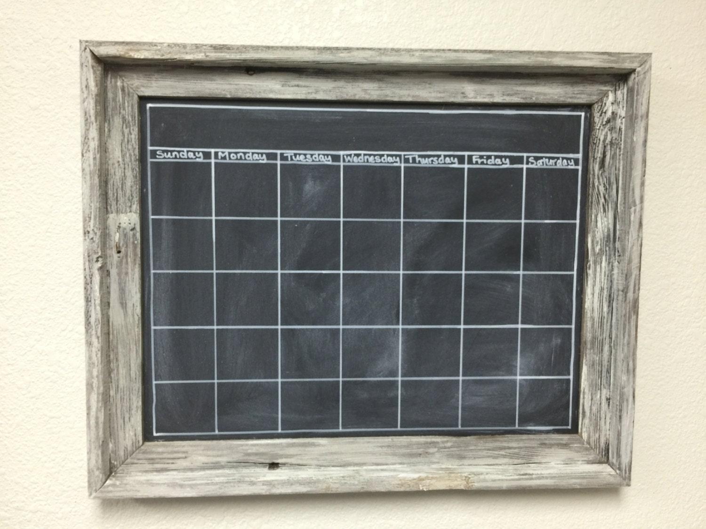 Chalkboard Calendar Canada : Barnwood chalkboard calendar with white wash custom frame