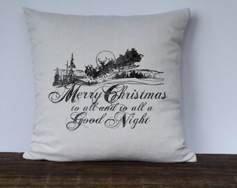 Christmas Pillow, Santa Pillow Cover, Farmhouse Christmas Pillow Cover, Decorative Pillow Cover, Merry Christmas to All Pillow Cover