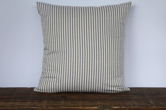 Farmhouse Gray French Ticking Pillow Cover Decorative Pillow