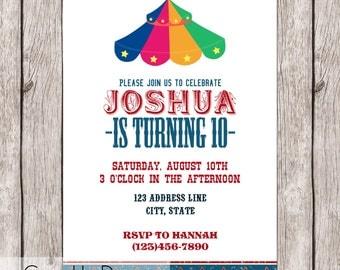 Carnival Big Top Birthday Invitation - Bright and Colorful - Printable - 5x7