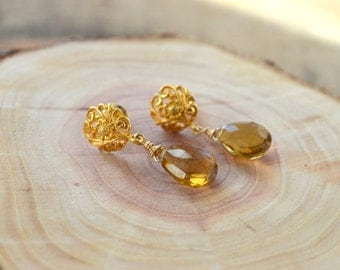 Whiskey Topaz Gemstone Earrings- Topaz Birthstone Earrings- November Birthstone Earrings