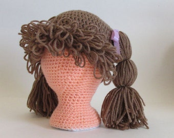 Cabbage Patch Wig, Fun Character Hat, Brown Halloween Hat, Halloween costume, All Sizes