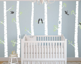Nursery Wall Decor Birch Tree Wall Decal   Bird Wall Decal   Nursery Wall  Decal   Part 61