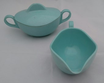 "Turquoise ""Melmac"" Cream and Sugar Set"