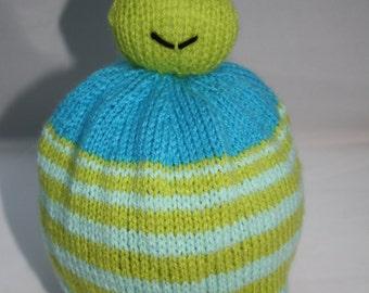 Hand Knitted Frog Bobble Hat for Children // Size 2 - 4 Years // Cute Christmas Gift // Stocking Stuffer // Children's Winter Hat