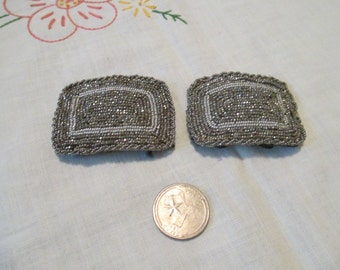 Awesome Beaded Shoe Clips Vintage Silver Beads Accessory Dress Clips Beading Clip Hollywood Burlesque Theater