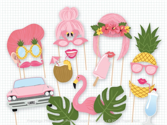 Tropical Themed Party Ideas Free Printables: Flamingo Photo Booth Props Pink Photobooth Props Flamingo