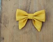 Sunflower - Mini Seaside Bow, handmade cotton bow hair clip