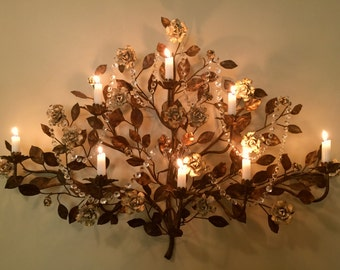 Large Wall Sconce Italian Candelabra Sculpted Flower Tree French Couture 42 in.