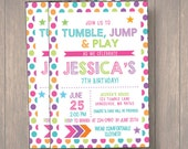 Birthday Party, Birthday Invitation Custom Printable, Tumble Birthday, gymnastic Birthday Party, Girl Birthday Invitation