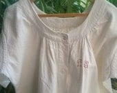 """White Victorian Nightgown Monogram French Country Side HEMP 1850's Handmade """"LG"""" Red Embroidered  Medium/ Large Clothing for Costumes Movies"""