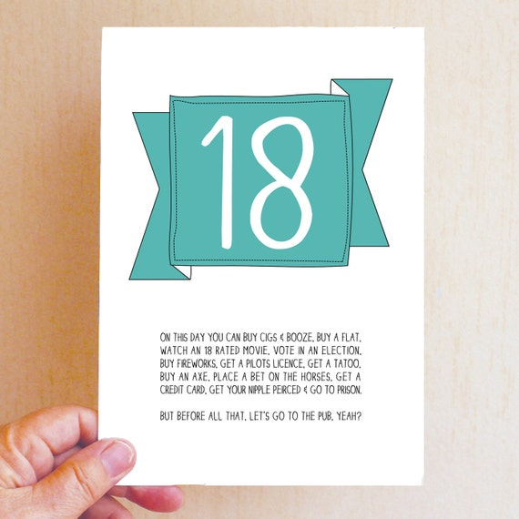 lustige 18 geburtstag karte funny birthday card lustige. Black Bedroom Furniture Sets. Home Design Ideas