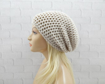 Beige Beanie Hat, Baggy Hat, Vegan Friendly, Skater Hat, Slouchy Beanie, Winter Hat, Womens Hat, Hipster Beanie, Slouch Hat, Beige Beanie