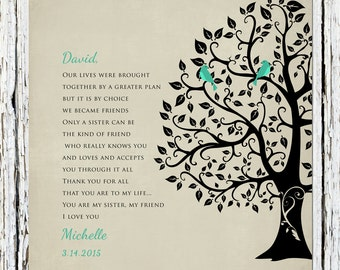 Brother Gift My Friend Personalized Groomsmen Gift Poem Verse Gift for Brother from Sister or From Brother 8 x 10 wall print