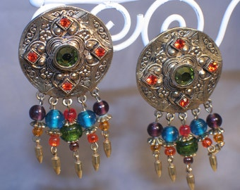 Robt Rose Statement Earrings, Gold, Glass Beaded, Lever Backed