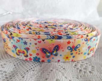 Butterfly ribbon Butterfly grosgrain ribbon 1 inch Grosgrain ribbon