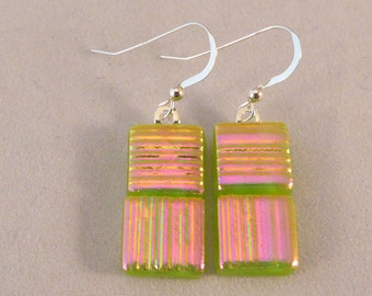 Green and PInk Dichroic Fused Glass Dangle Earrings, Fused Glass, Fused Glass Earrings, Glass Earrings, Dichroic Earrings, Dangle Earrings