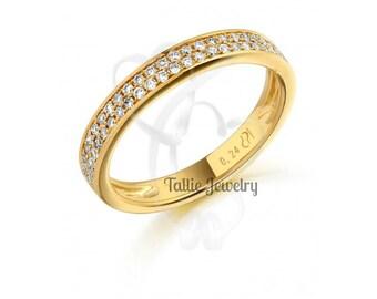 Diamond Eternity Rings, Womens 14K Yellow Gold Diamond Wedding Bands,  Diamond Wedding Rings,Matching Wedding Rings