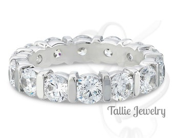 2.25 Carats Diamond Eternity Ring, Womens Wedding Rings, 14K Gold Anniversary Wedding Bands, Diamond Wedding Rings, Matching Wedding Rings
