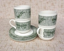 Yoke and Plow Cup and Saucer Sets (four sets) Currier and Ives SCIO