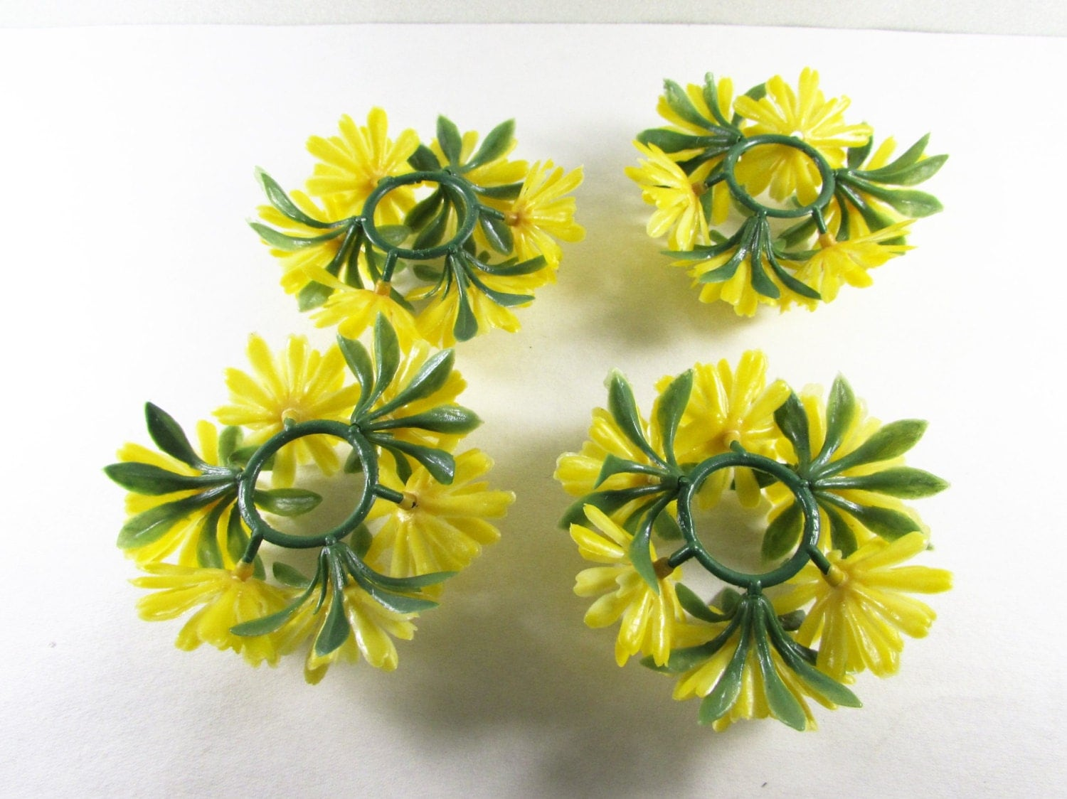 Yellow Flower Taper Candle Rings Plastic Floral By