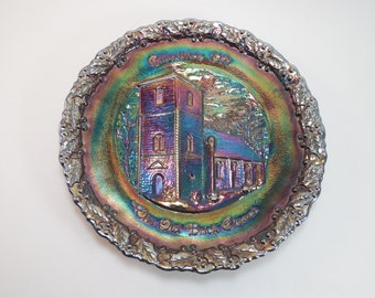 Vintage Fenton Amethyst Carnival Glass Christmas 1971 The Old Brick Church Christmas In America Plate Number 2 Isle Of Wight County Virginia