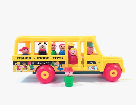 vintage fisher price school bus with little people 192. Black Bedroom Furniture Sets. Home Design Ideas