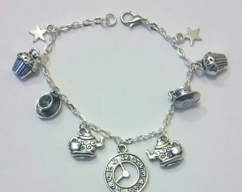 Time for tea charm bracelet - silver plated