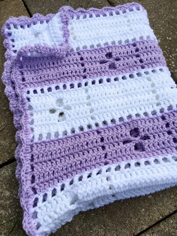 Items similar to White and Lavender cozy Call the Midwife baby blanket on Etsy