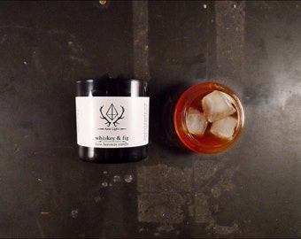 Whiskey & Fig Candle 10 oz. Handmade Beeswax Candle / Whiskey Candle / Bourbon Candle from Aziz Light Apothecary