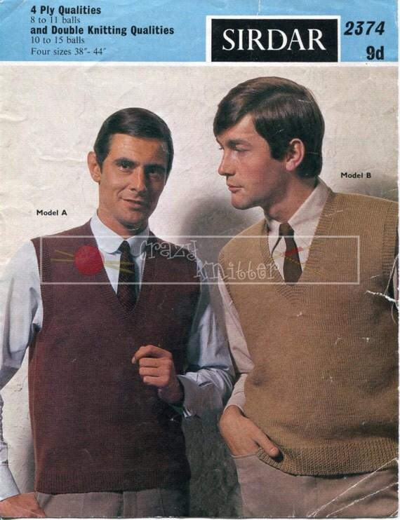 "Men's Sleeveless Pullovers 38-44"" 4-ply DK Sirdar 2374 Knitting Pattern PDF instant download"