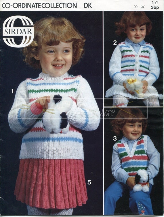 "Baby Sweater Cardigan Pullover Skirt Pants 20-24"" DK Sirdar 151 Vintage Knitting Pattern PDF instant download"