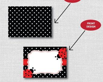 INSTANT DOWNLOAD - Ladybug Birthday Party Food Tent Cards - Classic Ladybug Birthday - Digital Design