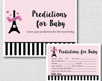 Paris Baby Shower Predictions Activity - Printable Baby Shower Activity - Paris Theme Baby Shower - INSTANT DOWNLOAD