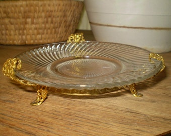 "Vintage Glass Plate w/Brass Filigree Stand 6"" x 1 3/4"" Hollywood Regency Swirl Design Ornate Candle Candy Dish Antique Decor Serving"