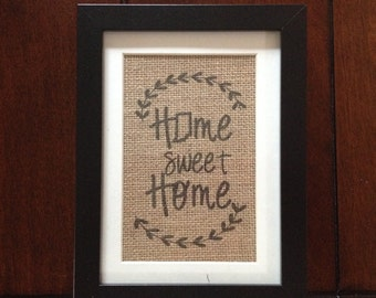 Indiana State - Home Sweet Home - Burlap in 5in x 7in Frame with Mat