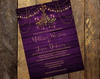 Purple And Gold Wedding Invitation,Bling Wedding Invitation,Chandelier  Invitation, Printable Invitation Rustic