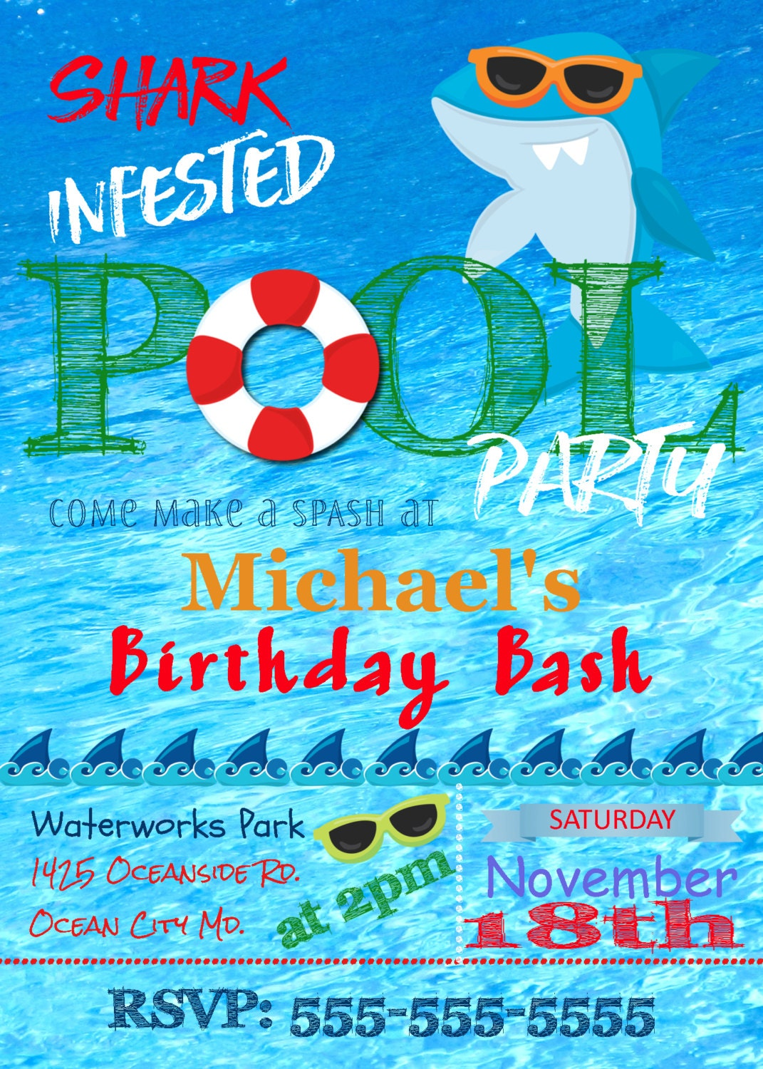 Shark Invitation PrintableShark Birthday InvitationPool Party – Shark Invitations Birthday Party