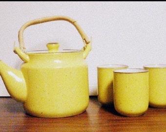 Vintage Teapot and Teacups Sunshine Yellow Saki Tea Set